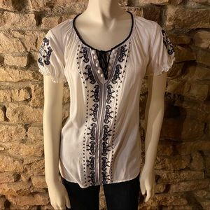 Style & Co. Embroidered Peasant Blouse SIZE Medium